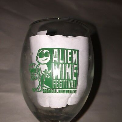 RARE Alien Wine Festival Roswell, New Mexico UFO Wine Glass    mc1