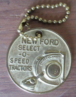 Vintage c1950s Ford Tractors Select O Speed Hydraulics Keychain Fob Token
