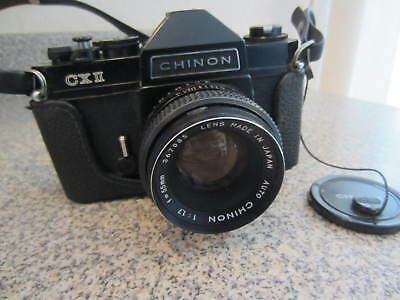 Vtg Chinon CX II Camera with Lens Case & Strap for 35 mm Film Japan