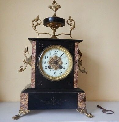 Antique French Black And peach  Marble Mantel Clock Frères?