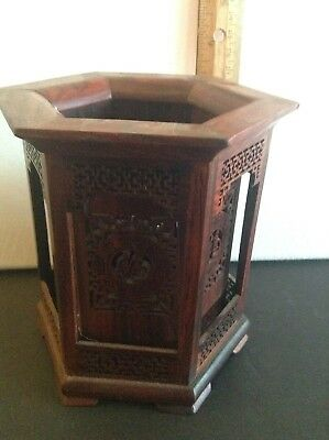 Beautifully Hand Carved Rosewood Mid Century Chinese Brush Pot