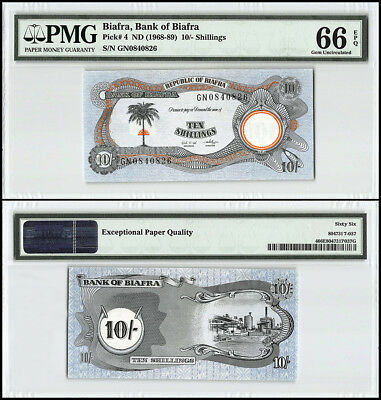 Biafra 10 Shillings, P-4, 1968, Palm Tree, Rising Sun, Oil Refinery, PMG 66