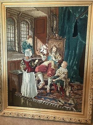 MEDIEVAL? Vintage Victorian Finished FRAMED Needlepoint PETIT POINT SHIP 1880's?