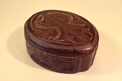 Vintage African Tuareg Bata Brown Tooled Leather Box~Mali or Niger~Exceptional