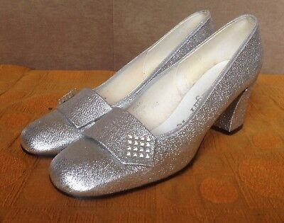 2f17270007c vintage 1960s 1970s silver shoes UK 5 5.5 6 6.5 diamante Starlight Room  Cindy newest 9684d ...