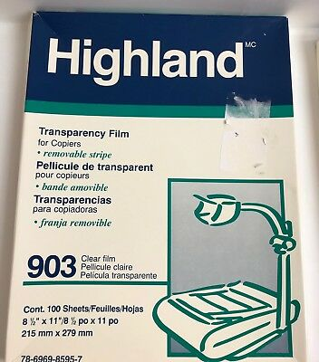 """Highland 903 Transparency Film for Copiers, 8.5"""" x 11"""" Open Box 99 Sheets"""