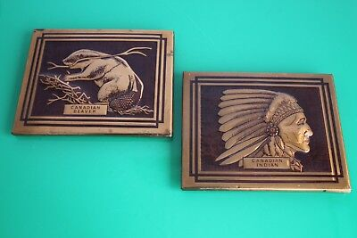 Pair of Vintage Canadian Copper Wall Plaques with Beaver 16cm c.1970