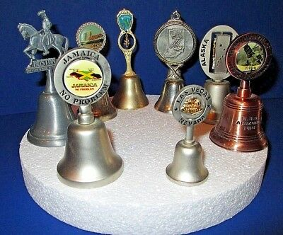 Lot of 8 Vintage Mixed Metal Souvenir Decorative Collectible Dinner Bells