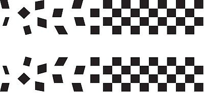 2 x chequered flag vinyl stickers graphics car side decals fun racing stripes