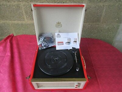 Red Gpo Bermuda 3 Speed Retro Record Player Turntable On Legs Usb