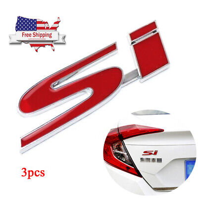 New Red SI Logo Metal Emblem Decal Badge Sticker For Honda Civic Accord FIT