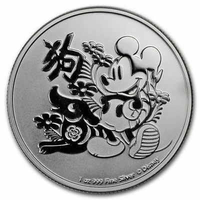 "1 oz Silver Mickey Mouse. Lunar Year. Disney. ""Year Of The Dog"" .999"