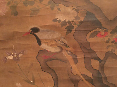 A Large Antique Chinese Scroll Painting on Paper , Artist signed.