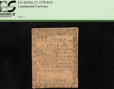 1776 $1/3 Dollar Mind Your Business Continental Currency Chain Link Note Pcgs