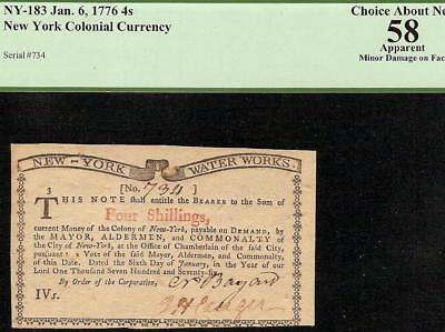 JAN 6, 1776 WATER WORKS 4s NOTE NEW YORK COLONIAL CURRENCY ONLY 2500 NY-183 PCGS