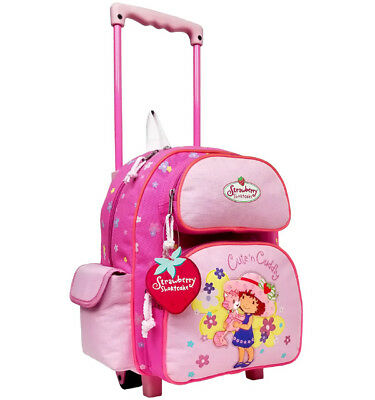12IN Strawberry Shortcake Small Rolling Backpack with Water Bottle #33704