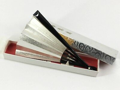 Vintage Kyoto Japanese Gold & Silver Black Lacquered Bamboo Folding Fan: May18A