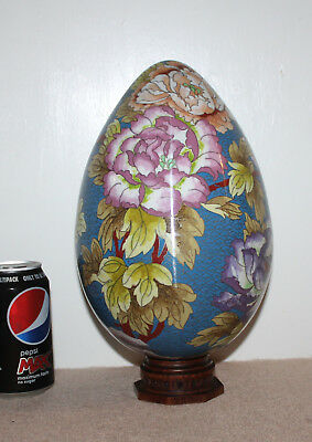 """A Superb Early C20th 10"""" Chinese Bird Couple Blossoms Cloisonne Egg on Stand"""
