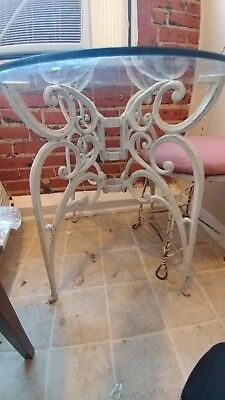 Nouveau Antique Glass and Iron Ice Cream Table with 4 Matching Chairs Vintage