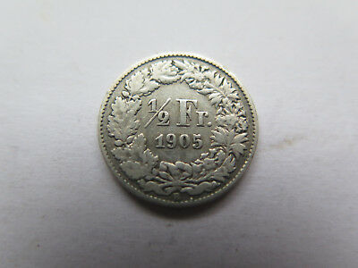 1905 B Switzerland Silver 1/2 Franc Nice Collectable Condition