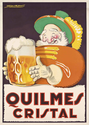 QUILMES CRISTAL BEER, Italy, 1930, Beers, Wines and Spirits Art Deco Poster