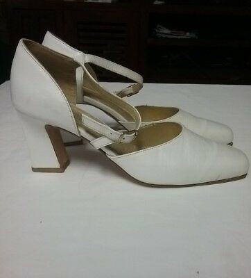 SUGAR SHOES FOR SWEETHEARTS White Leather Dance Shoes Size 7.5 .