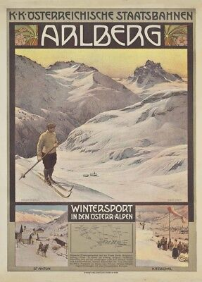 1930/'s 250gsm A3 Art Deco Poster Vintage Ski Posters GERMAN WINTER Germany