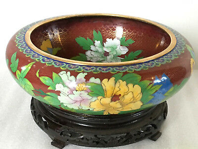 """A Superb Early C20th 12.5"""" Chinese Cloisonne Blossoms Butterfly Bowl on Stand"""