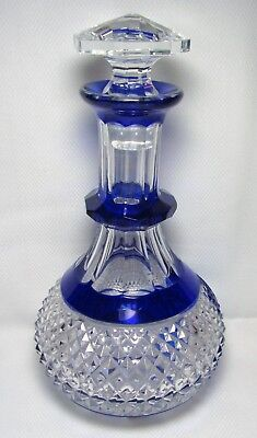 Vintage VAL ST LAMBERT Cobalt Blue Cased Cut to Clear Crystal Decanter Bottle