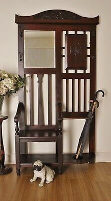 Rustic Antique Edwardian Carved Kauri Pine Hall Stand Hat & Coat Stand Hall Seat