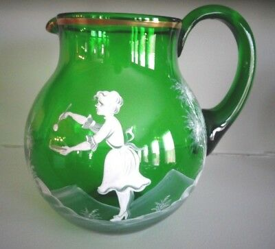 Vintage Bohemian Art Glass MARY GREGORY Enameled GREEN Bulbous PITCHER