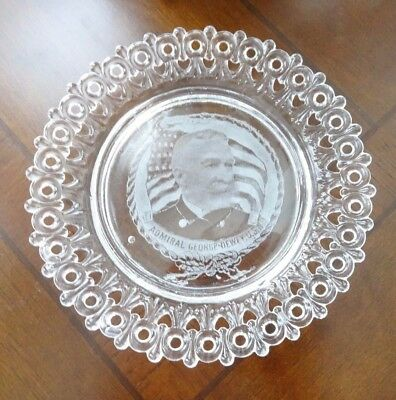 RARE MOSSER Art GLASS Reticulated Lace Edge Plate ADMIRAL GEORGE DEWEY USN