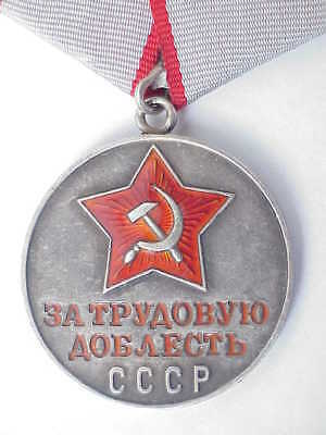 "1945y RUSSIAN SOVIET MILITARY 999"" SILVER MEDAL LABOUR VALOUR AWARD WWII WAR PIN"