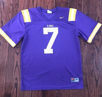 online retailer aa200 8e67c BOYS NCAA FOOTBALL LSU Tigers #7 Jersey Youth Large 16-18 Yrs Old. Nike