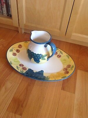 Vintage Hand Painted plate and pitcher