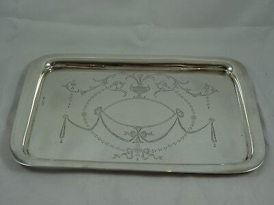 PRETTY solid silver DRESSING TABLE TRAY, 1916, 355gm - Chester