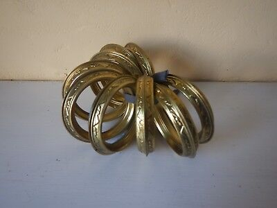 9 Large Antique French brass Curtain Rings