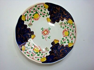 Antique Gaudy Welsh Saucer (14.cm) in Tulip or Swansea Cottage Pattern c.1830