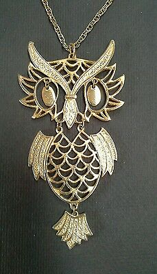 Large Vintage Bohemian Style Gold Plated Brass Owl Pendant Necklace * Rare *