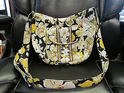 Vera Bradley Clare Crossbody Bag Floral Black Yellow Dogwood Print Retired RARE