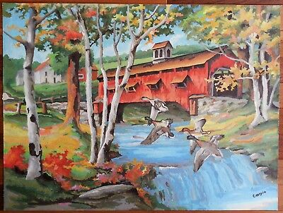 PBN Paint By Number on Canvas Large Vintage 18x24 Covered Bridge Ducks Woods