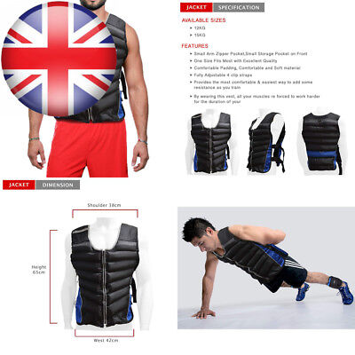 Weighted Vest Cardiovascular Training Running Gym Strength Jacket 12kg & 15kg