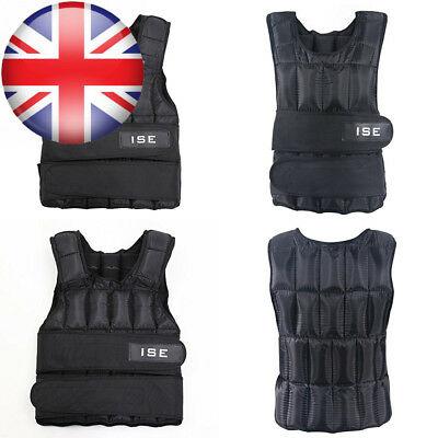 ISE Weighted Vest Adjustable 5kg 10kg 15kg 20kg 25kg 30kg Weight Vests Gym...
