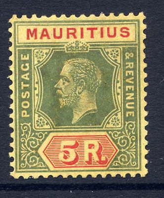 Mauritius 1913-22 5R Green & Red/orange-Buff Mounted Mint. Stanley Gibbons 203.