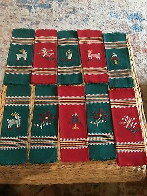 CHRISTMAS Cloth Napkins Aztec Navajo Style Set of 10