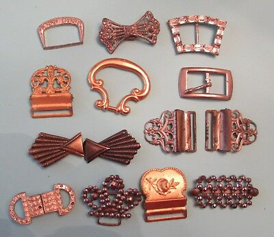 Lot of  Vintage/Antique Metal Belt/Sash Buckles ~ Art Deco, Rivets, more