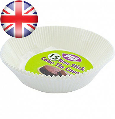 "15 x ROUND PAPER NON STICK CAKE TIN LINERS 20cm/8"" - perfect for cakes,..."