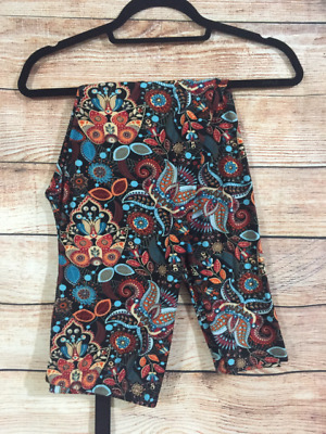 Tall and Curvy Super Soft Leggings Black Blue Red Paisley Windy Plus P289N
