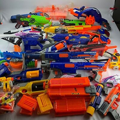 Lot of 20+ Nerf Guns & Attachments Stocks Raider CS-35 Long Strike Stampede LOOK
