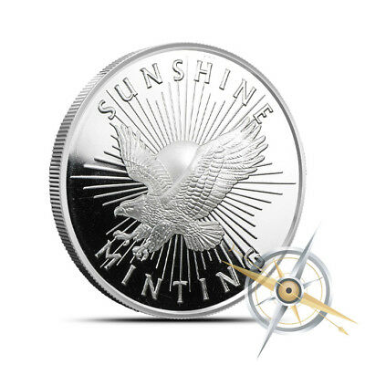 Sunshine Minting (SMI) 1/2 Oz .999 Silver Round - New with Mintmark SI Security